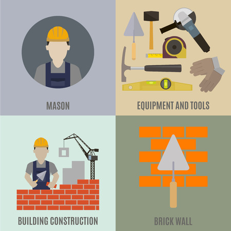 mason: Mason. Construction work and the tools of the mason Illustration