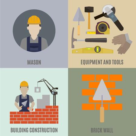 bricklayer: Mason. Construction work and the tools of the mason Illustration
