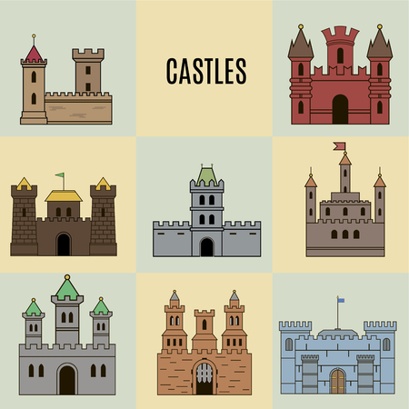 history architecture: color castle icon set. Flat style Illustration