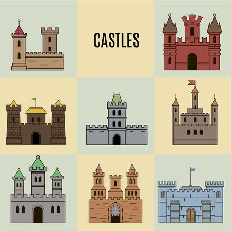 castello medievale: impostare il colore dell'icona castello. stile piatto
