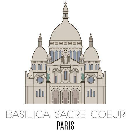 coeur: Basilica Sacre Coeur, Paris. line style Illustration