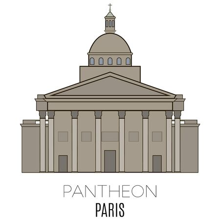 paris france: Pantheon, Paris, France. Vector line style