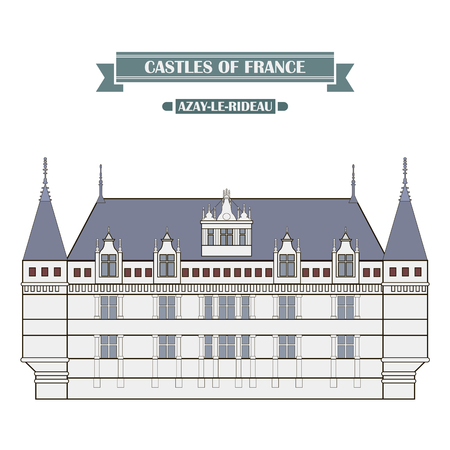 history architecture: Azay-le-Rideau, France. The medieval castle, a monument of architecture and history of France Illustration