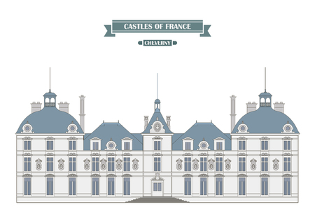 history architecture: Cheverny,  France. The medieval castle, a monument of architecture and history of France