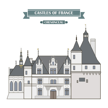 history architecture: The ancient castle, a monument of architecture and history of France Illustration