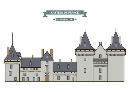 Sully-sur-Loire, France. The medieval castle, a monument of architecture and history of France Çizim
