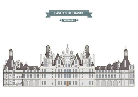 history architecture: Chambord, France. The medieval castle, a monument of architecture and history of France