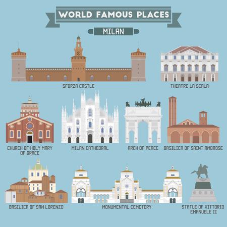 World Famous Place. Italië. Milaan. Geometrische iconen van de gebouwen