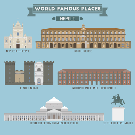 famous place: World Famous Place. Italy. Napoli. Geometric icons of buildings