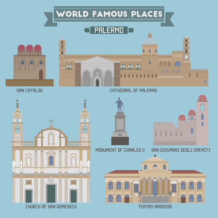 famous place: World Famous Place. Italy. Palermo. Geometric icons of buildings Illustration