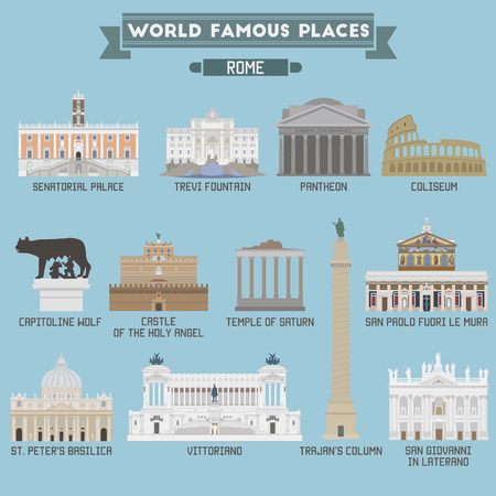 famous place: World Famous Place. Italy. Rome. Geometric icons of buildings
