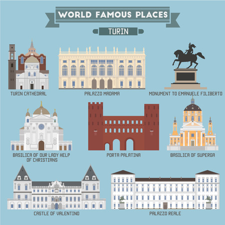famous place: World Famous Place. Italy. Turin. Geometric icons of buildings Illustration