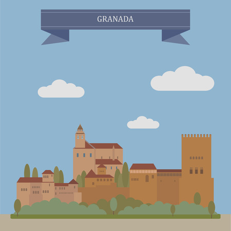residential houses: Granada, city and the capital of the province of Granada, Spain Illustration
