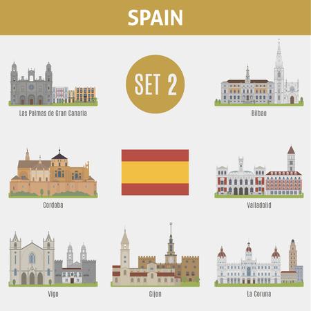 famous places: Famous Places Spain cities. Vector set of high-quality. Set 2 Illustration
