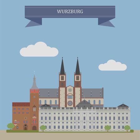 house icon: Wurzburg, city in the region of Franconia, northern Bavaria, Germany.