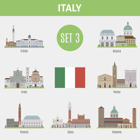 siena italy: Famous Places Italy cities. Vector set of high-quality. Set 3