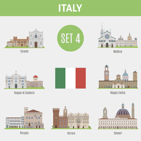 taranto: Famous Places Italy cities. Vector set of high-quality. Set 4