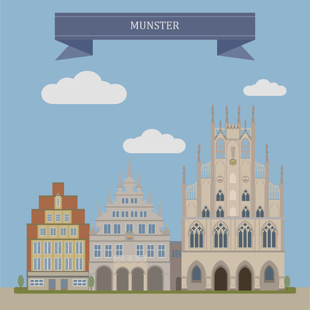 munster: Munster, is an independent city in North Rhine-Westphalia, Germany Illustration