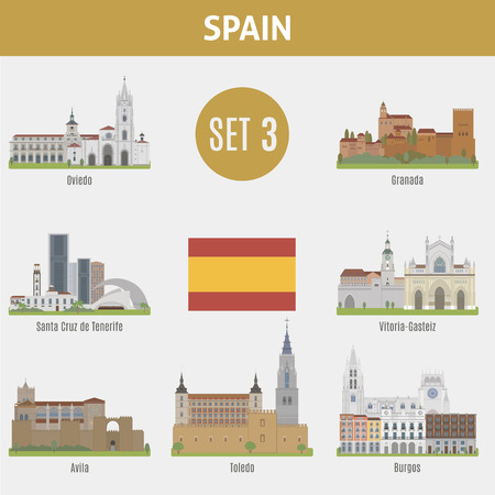 Famous Places Spain cities. Vector set of high-quality. Set 3 Illustration