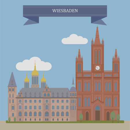 pencil skirt: Wiesbaden, city in central western Germany and the capital of the federal state of Hesse Illustration