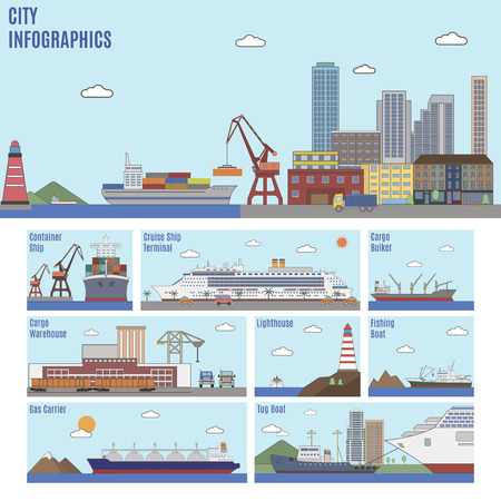 house building: City infographics. Sea port and sea transport ships