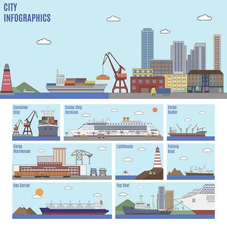 sea port: City infographics. Sea port and sea transport ships