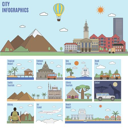 road trip: City infographics. Different types of recreation and tourism