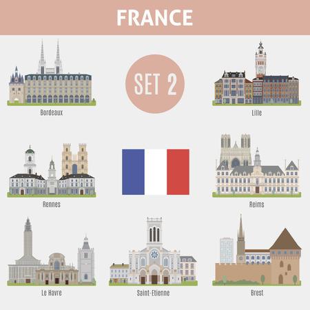 Lieux célèbres villes en France. Bordeaux, Lille, Rennes, Reims, Le Havre, Reims, Brest ans Saint-Etienne. Set 2