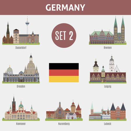 places: Famous Places cities in Germany. Dusseldorf, Bremen, Dresden, Leipzig, Hannover, Nuremberg and Lubeck. Set 2