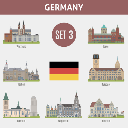city skyline: Famous Places cities in Germany. Wurzburg, Speyer, Aachen, Duisburg, Bochum, Wuppertal and  Bielefeld. Set 3 Illustration