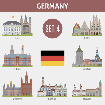 Famous Places cities in Germany. Bonn, Munster, Karlsruhe, Mannheim, Wiesbaden, Augsburg and Chemnitz. Set 4 Illustration
