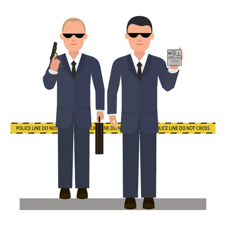 special service agent: Two security agents at the crime scene. Vector style flat Illustration