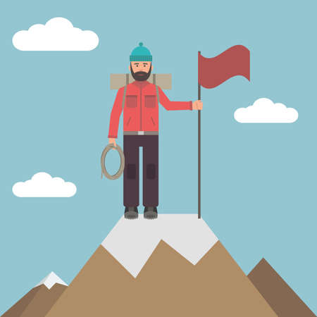 mountain climber: Climber on top of a mountain with a flag in his hands.