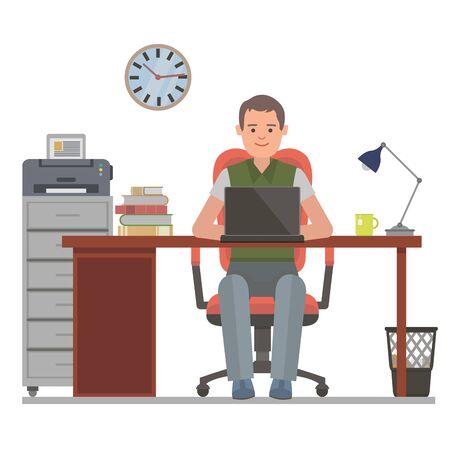 desk work: Businessman on his work desk