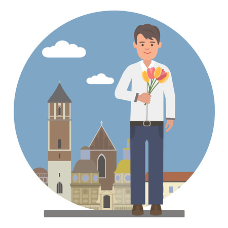 romantic date: Young man with flowers on a romantic date
