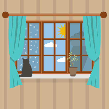 spring summer: Seasons outside the room. Summer, spring, winter and autumn Illustration