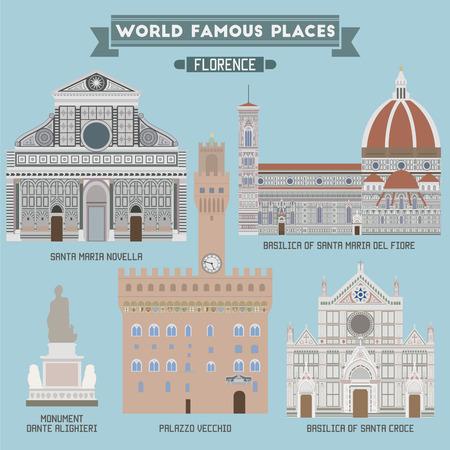 Lugares famosos de Florencia, capital de la región italiana de la Toscana Ilustración de vector