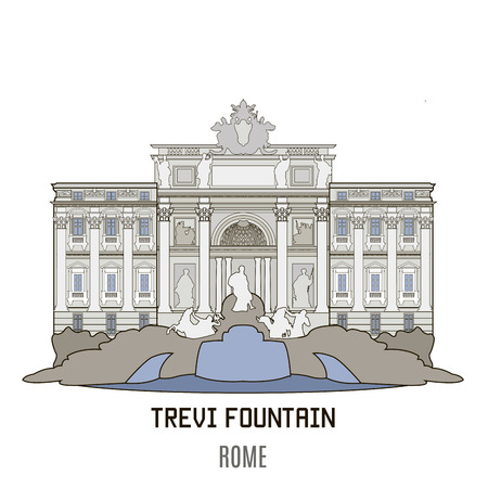 fountains: Trevi Fountain, Trevi district in Rome, Italy,