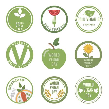 vegan: World Vegan Day. Vector set for your design