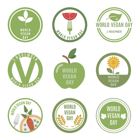 eat healthy: World Vegan Day. Vector set for your design