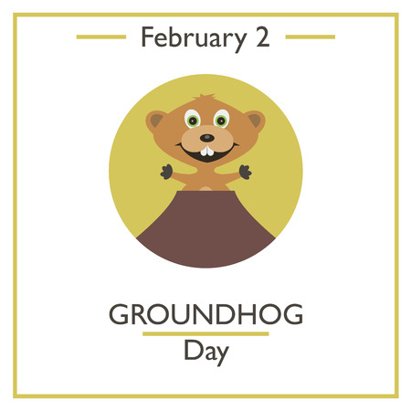 woodchuck: Groundhog Day. February 2. Vector illustration for you design, card, banner, poster and calendar