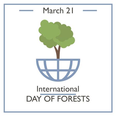 calendar day: International Day of Forest, March 21. Vector illustration for you design, card, banner, poster and calendar Illustration