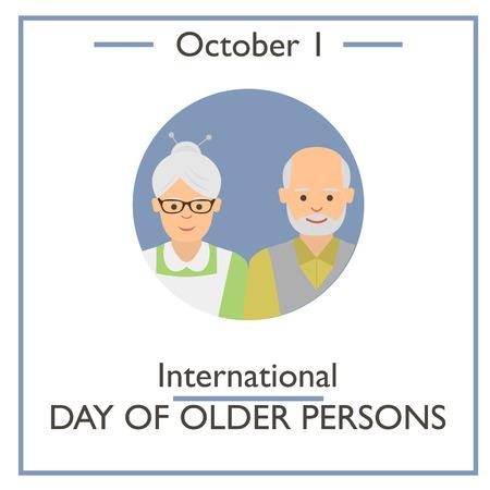 older: International Day of Older Persons, October 1. Vector illustration for you design, card, banner, poster and calendar