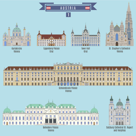 famous places: Famous Places in Austria: Karlskirche - Vienna, Eggenberg Palace - Graz, Town Hall - Graz, St. Stephens Cathedral - Vienna, Schoenbrunn Palace - Vienna, Belvedere Palace - Vienna, Cathedral St. Rupert and Vergilius - Salzburg