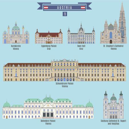 Famous Places in Austria: Karlskirche - Vienna, Eggenberg Palace - Graz, Town Hall - Graz, St. Stephens Cathedral - Vienna, Schoenbrunn Palace - Vienna, Belvedere Palace - Vienna, Cathedral St. Rupert and Vergilius - Salzburg