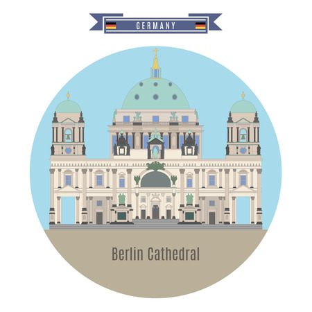 famous places: Famous Places in Germany: Berlin Cathedral, Berlin Illustration