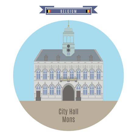 built tower: Famous Places in Belgium: City Hall, Mons Illustration