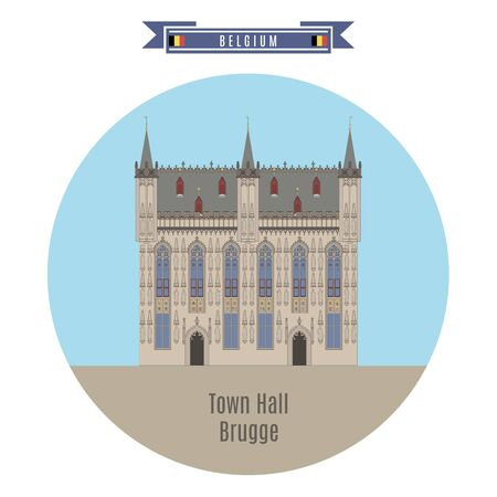 street symbols: Famous Places in Belgium: Town Hall, Brugge Illustration