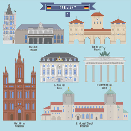 Famous Places in Germany: Town Hall, Cologne; Town Hall, Bonn; Marktkirche, Wiesbaden; Isartor Gate, Munich; Brandenburg Gate, Berlin Illustration