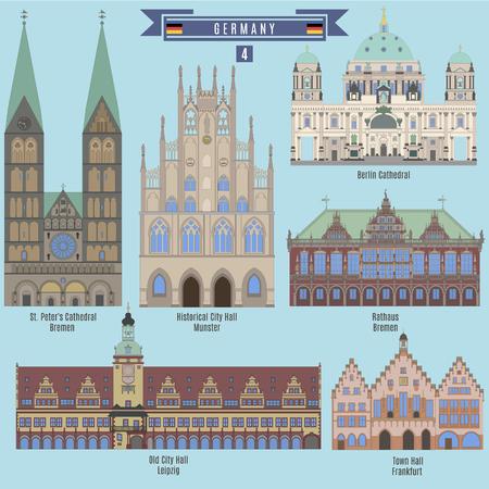 ドイツで有名な場所: 歴史的市庁舎、ミュンスター;市庁舎、ライプツィヒ。市庁舎、フランクフルト。市庁舎、ブレーメン。ベルリン大聖堂